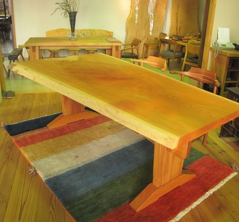 ケヤキ一枚板テーブル板脚2