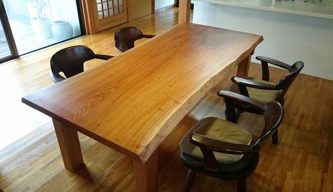 ケヤキテーブル4本足