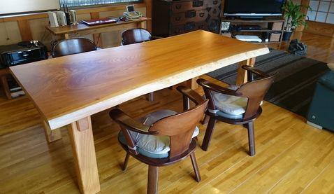 ケヤキテーブル4本足2