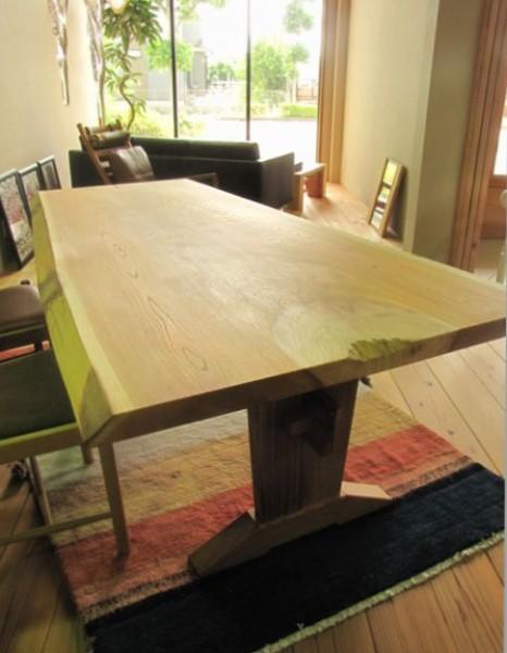 ケヤキ一枚板テーブル板脚