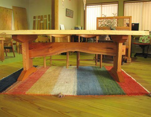 ケヤキ一枚板テーブル板脚3